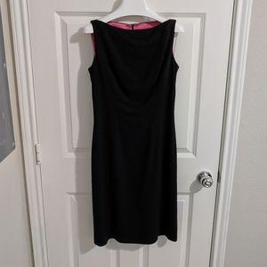 Milly of New York Black Boat Neck Shift Dress 6